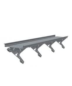 Kattosiltapaketti konesaumakatoille suunnitellulla UniSeam-kiinnikkeellä sekä muilla asennustarvikkeilla. Kattosillan pituus kolme metriä.